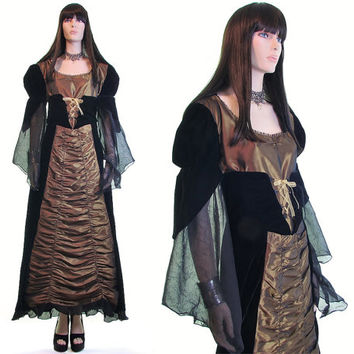 vintage witch costume, maleficent, vintage 90s goth costume, medieval costume, beautiful evil queen, gothic, cosplay dress costume l xl