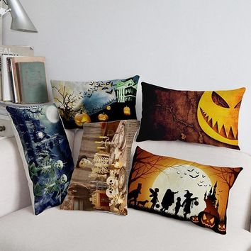 Happy Halloween Jack-O'-Lantern Pumpkins Skeleton Pattern rectangle Pillow Case Home Festive Decoration Long Cushion Cover