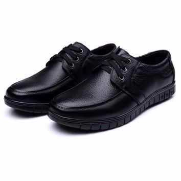 2017 Hot Sale Genuine Leather Men Casual Shoes Black Brown Men Flats,Handmade Men Father Shoes Lace-Up Men Shoes Dropship H825