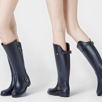 Manmitu Free Shipping 2017 Adult Women RainBoots female fashion Waterproof high Rainshoes,Water Rubber Boots, buckle Wellies