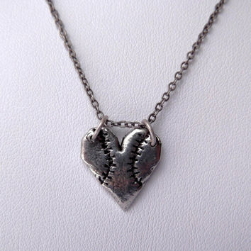 Take Me Out To The Ball Game Heart Shaped Baseball Charm Pendant Necklace on Antiqued Silver Chain