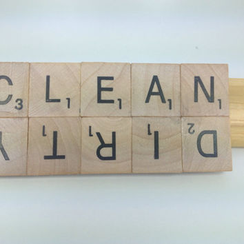 CLEAN/DIRTY Upcycled/Recycled Magnet, Wooden Letter Tile Magnet, Housewarming Gift, Dishwasher Sign, Word Magnets