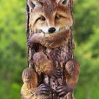 Cute Animal Tree Hugger Fox Yard Garden Art Outdoor Country Lodge Home Decor
