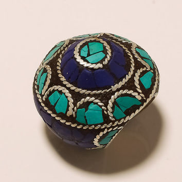 VINTAGE HANDCRAFTED STATEMENT Ring With Inlay Turquoise, Lapis & Silver Accents