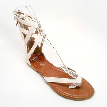 DCK7YE Beige Vegan Leather Sandal with Tall Straps
