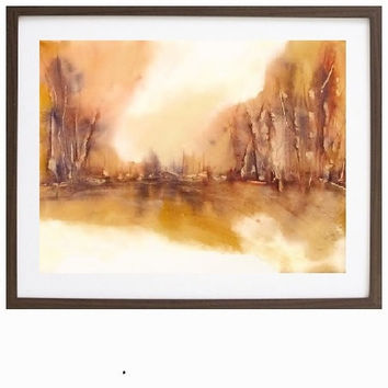 Large Landscape Watercolor Painting, Wall Decor Print,Fall Colors,11x14 13x19 Forest Abstract,Orange Yellow Art, Autumn Trees, Monochromatic