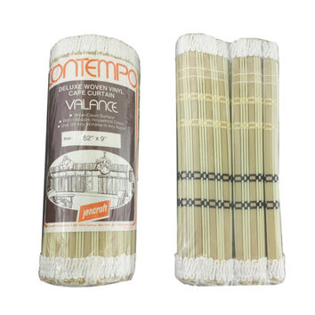 """Vintage Valance, 52"""" x 9"""", Retro Window Treatment, Woven Vinyl Cafe Curtain Valance, Contempo Jencraft Made in Japan, Neutral Earth Tones"""