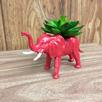 Up-cycled Red Elephant Planter