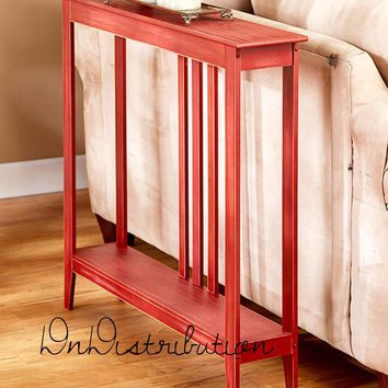 Red Narrow Slim Space Saver Accent Table Wooden Hallway Entry Sofa Storage