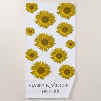Yellow Scattered Sunflowers Wedding Beach Towel