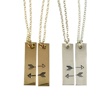 Best friend necklace best friends gift friend matching set of 2 personalized arrow necklace initial disc friendship sisters