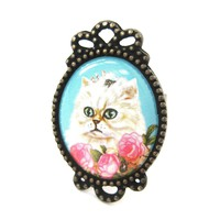 Persian Kitty Cat Illustrated Adjustable Ring in White with Roses | Animal Jewelry