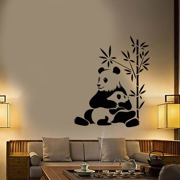 Vinyl Wall Decal Asian Chinese Panda Bears Family Animals Stickers (2979ig)