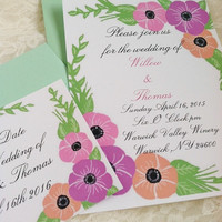 Pastel floral wedding invitation suite ,save the date,rsvp