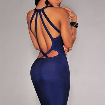 A| Chicloth Navy Blue Strappy Cut-Out Back Bandage Dress