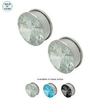 Ear Plug Double Flare Pair Large Gauge Cz Jeweled 109210