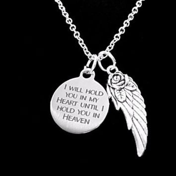 I Will Hold You In My Heart Until I Hold You In Heaven Angel Wing Necklace