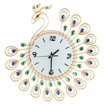 Luxury Vintage Art Wall Clocks Metal Peacock Non-Ticking Silent Dazzling Clock