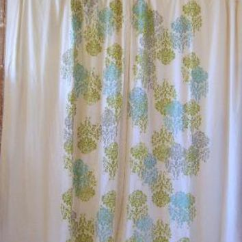 Green Aqua and Grey Mantra Curtains by appetitehome on Etsy