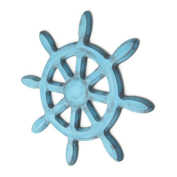 Ships Wheel Wall Decor distressed rustic nautical wall hanging hand painted in pale blue and grey, shabby wooden captains wheel
