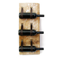 Wine Rack with reclaimed wood and recycled leather 3 Bottle wall bottle holder MWR50