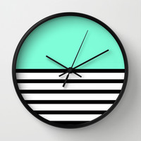 Tiffany Black and White Stripes Pattern Wall Clock by RexLambo