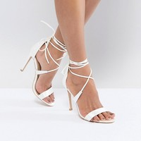 True Decadence Satin Ankle Tie Barely There Heeled Sandal at asos.com