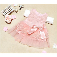 Chiffon Bow Lace Cotton Gown Dress Girls