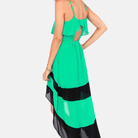 You're Riding High! High-Low Green Dress