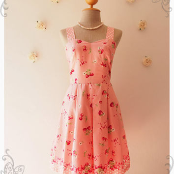 Strawberry Dress Pink Party Dress Vintage Style Dress Strap Dress Pink Bridesmaid Dress Holiday Dress Christmas Dress Tea Dress -Size S