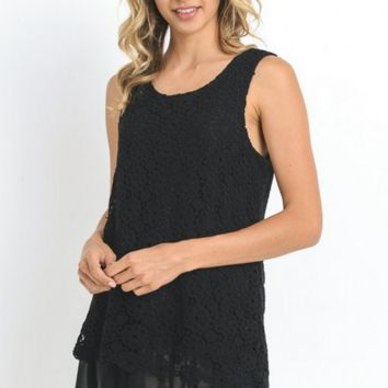 Crochet Lace Chiffon Hem Top