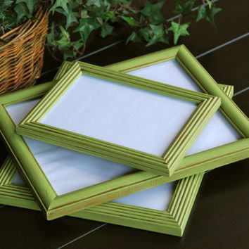 Set of 3 vintage apple green hand-painted decorative wooden wall collage gallery picture frames