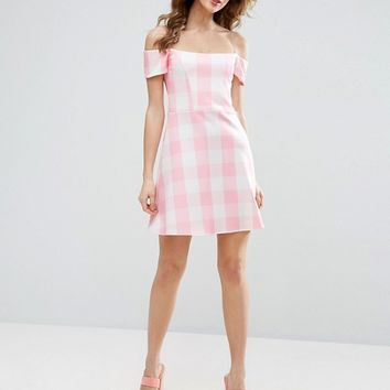 ASOS Gingham Off The Shoulder Bardot Shift Mini Dress at asos.com