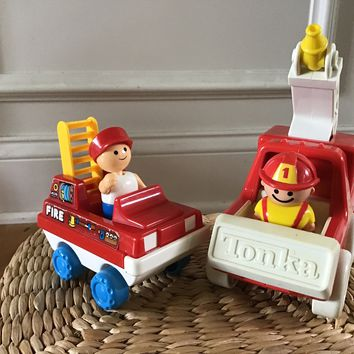 Tonka water Fire truck and  Playmates Toy ladder fire Truck with Firemen 1980s