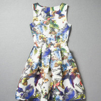 Bird Butterfly Cocktail Summer Skater Dress