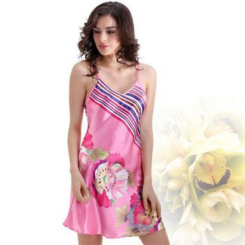 CREYCI7 Satin Silk Nightgown Floral Print Chemise Women Silk Nightwear Pink Silk Home Gown for Girls