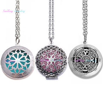 "10pcs Mix 28"" Chain Pads Round Antique Vintage Aromatherapy Lockets Pendants Perfume Essential Oil Diffuser Locket Necklace"