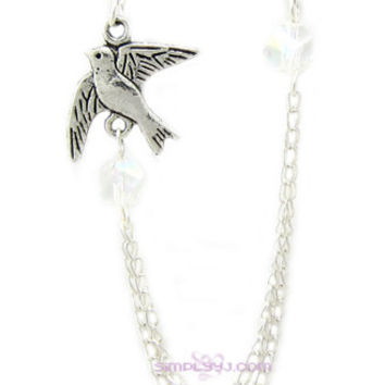 Dove Swarovski Crystals Double Chain Cartilage Double Piercing