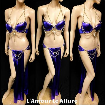 Royal Purple Gold Egyptian Scorpion Queen Chain Bra with Gypsy Slave Skirt