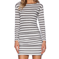 SUNDRY Thick Stripe Boat Neck Long Sleeve Dress in Gray