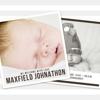 Boy Birth Announcement, Double Sided Baby Announcement - Maxfield