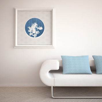 Bonsai, Tree Print, Symbol Prints, Design Prints, Tree Silhouette, Blue Circle, Silhouettes, Abstract Art, Abstract Poster, Modern Prints