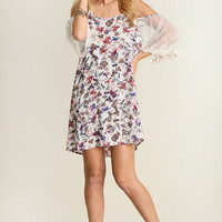 Off Shoulder Floral Dress - Ivory