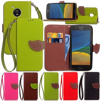 For Motorola Moto G G2 G3 G5 Luxury Leather Cover Flip Wallet Phone Case With Leaves Buckle And Lanyard Mobile Phone Shell