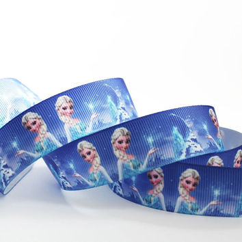 "Disney Frozen Elsa Printed Grosgrain Ribbon/ 7/8"" (22mm) width /Hair bow DIY / Head Band/Craft Supplies"