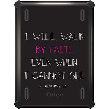 DistinctInk™ OtterBox Defender Series Case for Apple iPad - 2 Corinthians 5:7 - I Will Walk By Faith Even When I Cannot See