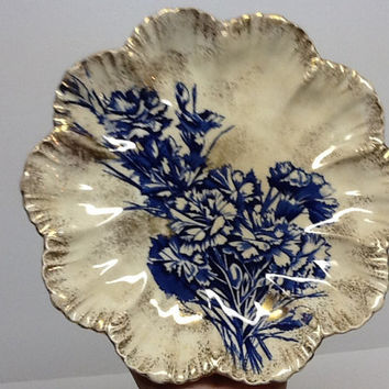 Antique plate vintage plate scalloped edge with gold blue flowers