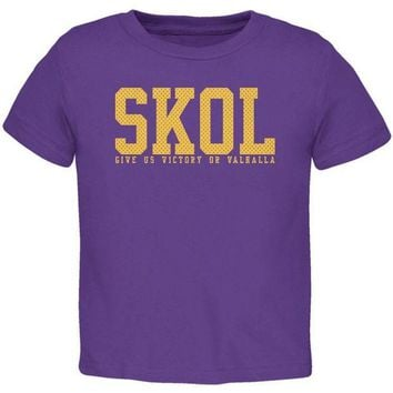 PEAPGQ9 Vikings Skol Give Us Victory or Valhalla Toddler T Shirt