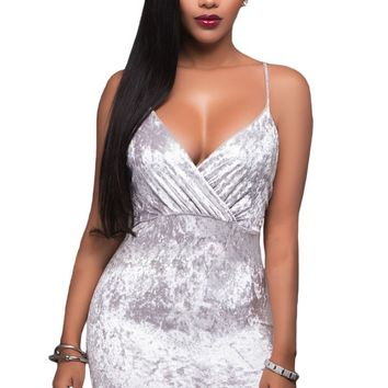 Chicloth White Wrap V Neck Ruched Velvet Club Dress
