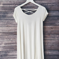 Sawyer Lattice Back Tee Dress (White)